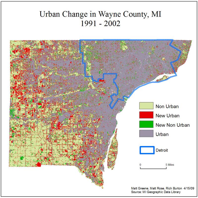 Urban Sprawl in Wayne County, MI